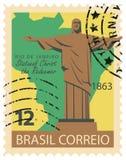 Timbre brésilien avec la statue du Christ Image libre de droits