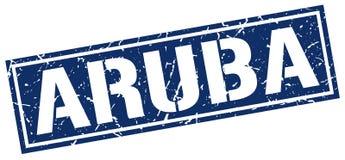 Timbre carré bleu d'Aruba Images libres de droits