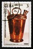 Timbre cubain avec le vieux broc, vers 1980 Photographie stock