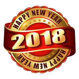 Timbre d'or de label de la bonne année 2018 Photos libres de droits