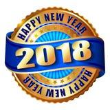 Timbre d'or de label de la bonne année 2018 Images libres de droits