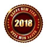 Timbre d'or de label de la bonne année 2018 Image stock
