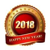 Timbre d'or de label de la bonne année 2018 Photo stock