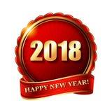 Timbre d'or de label de la bonne année 2018 Photographie stock