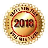 Timbre d'or de label de la bonne année 2018 avec des diamants Photographie stock libre de droits