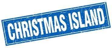 Timbre d'isolement par grunge carré bleu d'Île Christmas Photographie stock libre de droits