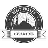 Timbre d'Istanbul avec la silhouette de la mosquée Photo libre de droits