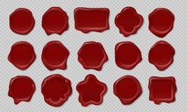 Timbre de cire Vieux label de relief d'enveloppe, triangle de coeur autour des formes médiévales royales de maquette Cire réalist illustration stock