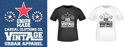 Timbre de denim de vintage et T-shirt de maquette illustration de vecteur
