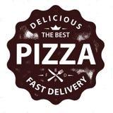 Timbre de logo de pizza de vecteur de vintage Image libre de droits