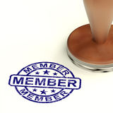 Timbre de membre montrant l'enregistrement et souscrire d'adhésion illustration de vecteur