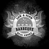 Timbre de menu de barbecue de BBQ de style de vintage illustration stock