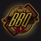 Timbre de menu de barbecue de BBQ de style de vintage, logo professionnel illustration de vecteur