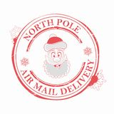 Timbre de Noël avec un visage drôle de Santa Claus, élément de conception illustration de vecteur
