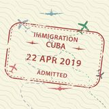 Timbre de passeport de visa vers le Cuba illustration stock