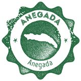 Timbre de vintage de carte d'Anegada Illustration de Vecteur