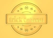 Timbre gravé avec le texte de des bonbons ou un sort Image libre de droits