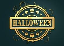 Timbre gravé avec le texte de Halloween Photographie stock libre de droits