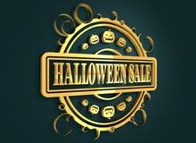 Timbre gravé avec le texte de vente de Halloween Photographie stock libre de droits