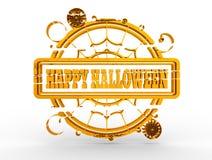 Timbre gravé avec le texte heureux de Halloween Image libre de droits