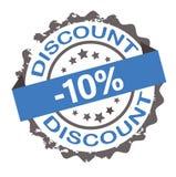 Timbre grunge bleu de la remise 10% signe sceau Photographie stock