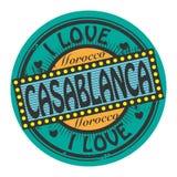 Timbre grunge de couleur avec amour Casablanca des textes I à l'intérieur illustration libre de droits