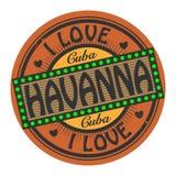 Timbre grunge de couleur avec amour Havanna des textes I à l'intérieur illustration stock