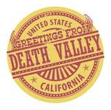 Timbre grunge de couleur avec des salutations des textes de Death Valley illustration stock