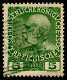 Timbre historique autrichien : portrait d'empereur Franz Joseph I, 5 heller, 1908, annulation spéciale, Autriche, Austro-hongrois photos libres de droits