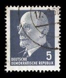 Timbre imprimé en république Démocratique d'Allemande - l'Allemagne de l'Est montre le Président Walter Ulbricht Photos libres de droits
