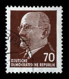 Timbre imprimé en république Démocratique d'Allemande - l'Allemagne de l'Est montre le Président Walter Ulbricht Image stock