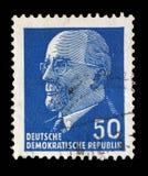 Timbre imprimé en république Démocratique d'Allemande - l'Allemagne de l'Est montre le Président Walter Ulbricht Photographie stock