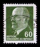 Timbre imprimé en république Démocratique d'Allemande - l'Allemagne de l'Est montre le Président Walter Ulbricht Photo libre de droits