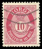 Timbre imprimé par l'édition courante de la Norvège image stock