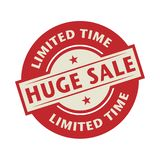Timbre ou label avec du temps de Huge Sale, Limited des textes illustration stock