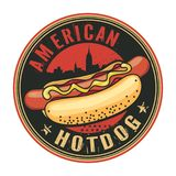 Timbre ou label avec le hot dog illustration stock