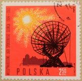 Timbre postal de la Pologne, consacré à l'année du Sun tranquille images stock
