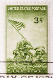 Timbre-poste annulé des USA du cru 1945 Iwo Jima Photo stock