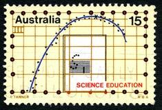 Timbre-poste australien d'éducation de la Science images libres de droits