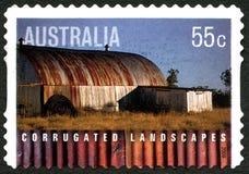 Timbre-poste australien de paysages ondulés Photographie stock