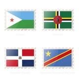 Timbre-poste avec l'image drapeau de Djibouti, Dominique, République Dominicaine, République démocratique du Congo illustration de vecteur