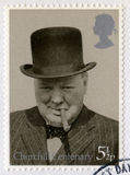 Timbre-poste britannique commémorant le centenaire du ` s de Churchill image stock
