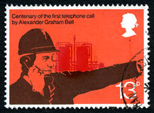 Timbre-poste BRITANNIQUE d'Alexander Graham Bell photo stock