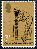 Timbre-poste BRITANNIQUE de cricket du comté Images stock