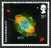 Timbre-poste BRITANNIQUE de la nébuleuse C55 de Saturn Image stock