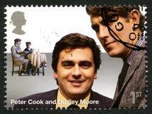 Timbre-poste BRITANNIQUE de Peter Cook et de Dudley Moore Images stock