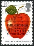 Timbre-poste BRITANNIQUE de Sir Isaac Newton image stock