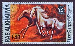 Timbre-poste, chevaux peints Image stock