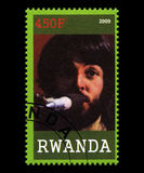 Timbre-poste de Beatles du Rwanda Photo stock