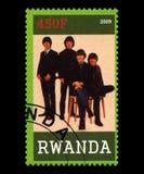 Timbre-poste de Beatles du Rwanda Photographie stock